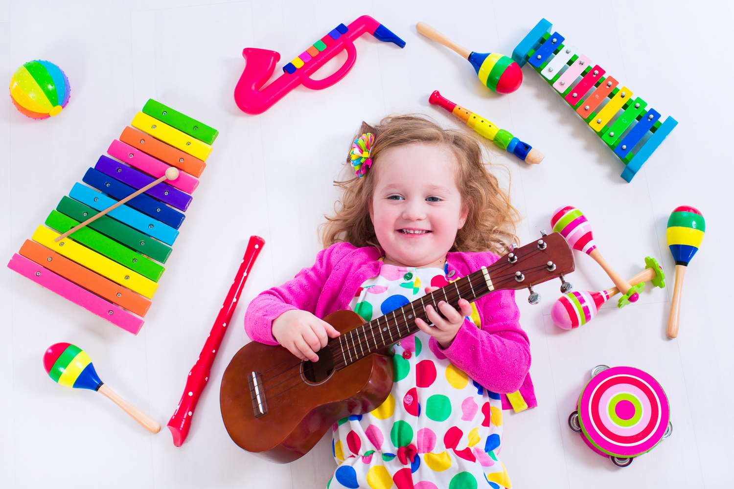 young child enjoying music