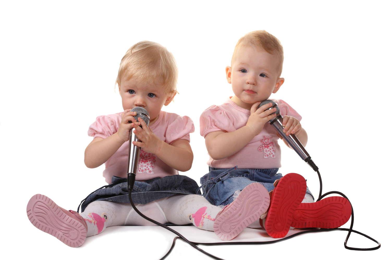baby girls singing music